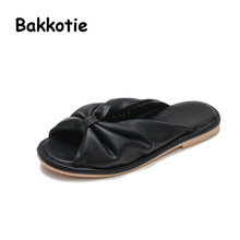 Bakkotie 2017 New Arrival Fashion Child Summer Baby Boy Casual White Shoe Black Girl Beach Slippers Kid Brand Slip On Mules Bow