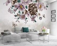Купить с кэшбэком Beibehang papel de parede Custom wallpaper small fresh rose butterfly TV background wall home decoration 3d wallpaper background