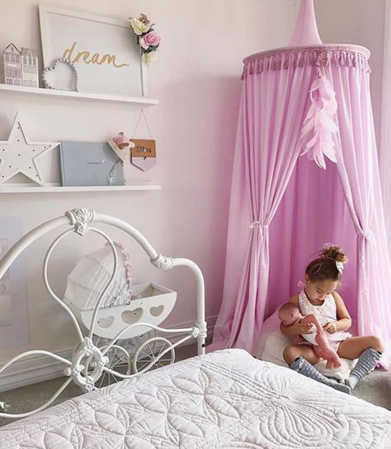 Lieblich Weiß/Grau/Rosa Prinzessin Bett Baldachin Bett Vorhänge Für Kinderzimmer  Decor Dome Baldachin Hängen Spielen Zelte Tipi Kinder Spielen Haus