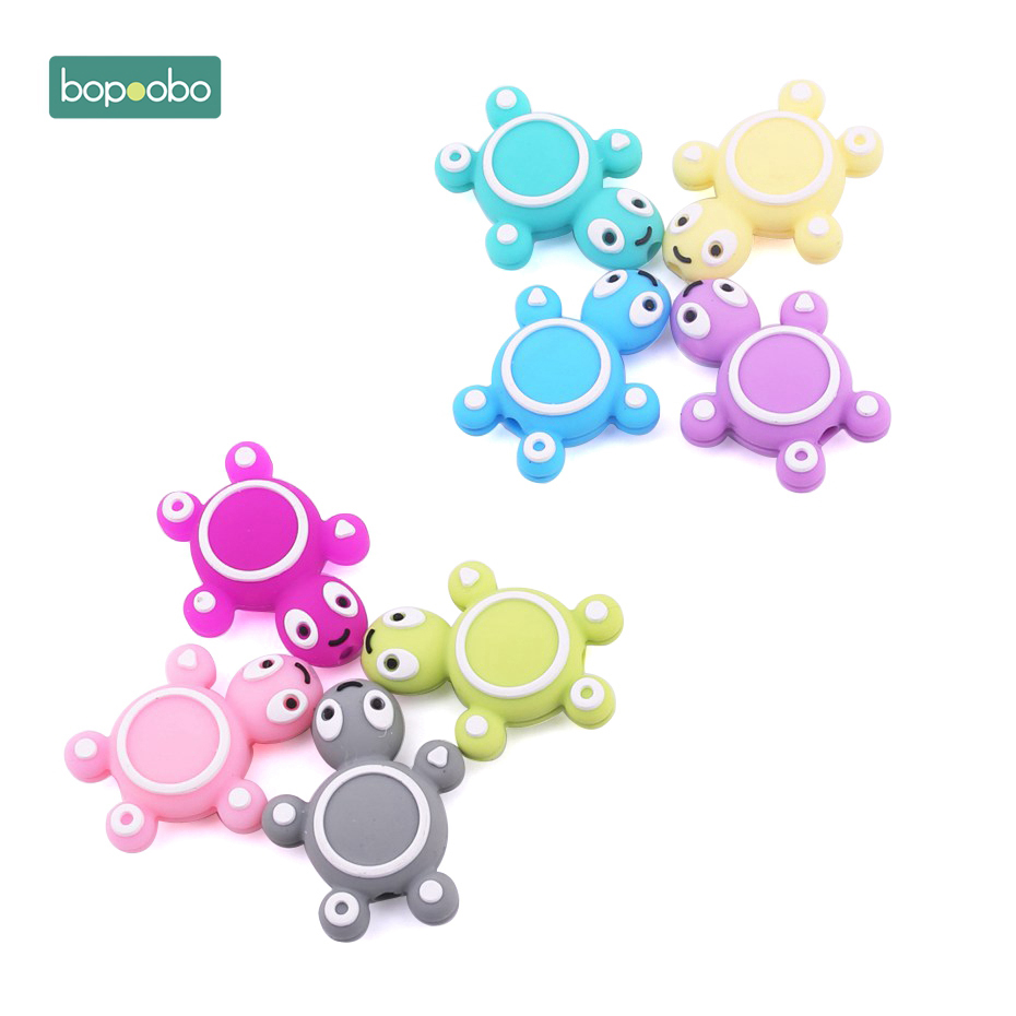 Bppoobo 5pc Silicone Teething Beads Cartoon Tortoise Food Grade BPA Free Teether DIY Beads For Pacifier Silicone Raccoon Rodents