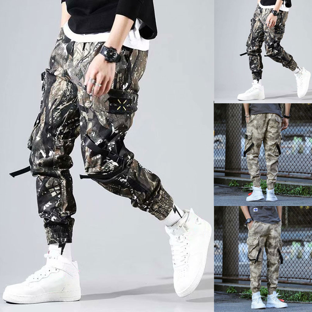 Men Camouflage Pocket Overalls Casual Pocket Sport Work Casual Trouser Pants M-5XL