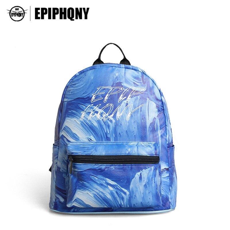 Epiphqny Design Brand Blue Ocean Printing Backpack Oil Painting Romance Shoulder Bags Logo Mori Girl Knapsack