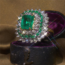Wedding Green Stone Ring Engagement Square White Crystal Ring Laides Party Rings For Women Jewelry Anillos Mujer kcaloe lady women green stones ring charm brand jewelry antique black rhinestone natural stone wedding anniversary rings anillos