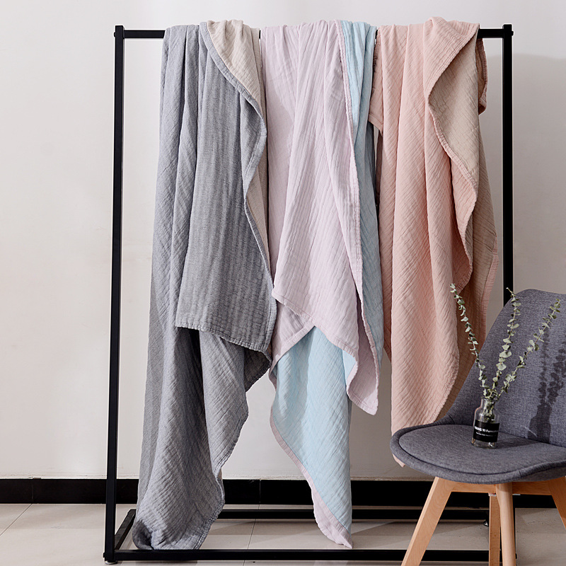 Junwell 100% Cotton Muslin Blanket Bed Sofa Travel Breathable Simple Japanese Style Solid Large Soft Throw Blanket Para Blanket