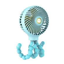 Creative Cartoon Mini Folding Small Fan Usb Charging Octopus Deformation Baby Stroller Switch Anti-touch Function