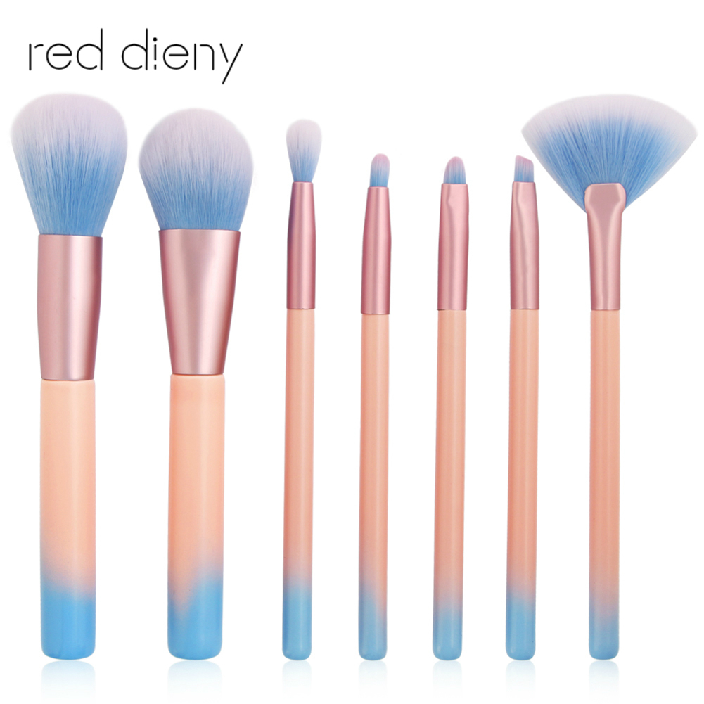 7pcs Cosmetic Makeup Brushes Set Beauty Tool Eye Shadow Power Blush Brow Liner Concealer Lip Face Fan Make Up Brush Kit maange pro 18pcs kit makeup brushes set eye shadow brow eyeliner eyelash lip foundation power cosmetic make up brush beauty tool