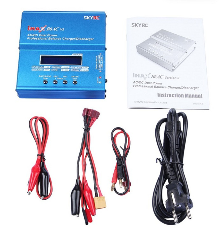 iMAX B6AC V2 6A Lipo Battery Balance Charger LCD Display Discharger FOR RC Heli RC Car Battery+ EU/US/UK/AU plug power supply 1s 2s 3s 4s 5s 6s 7s 8s lipo battery balance connector for rc model battery esc