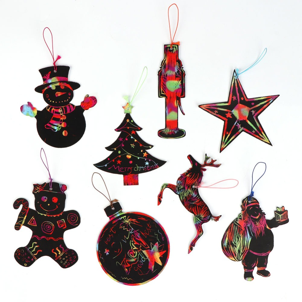 United Ourwarm 6pcs Christmas Tree Ornament Santa Claus Snowman Pattern Wooden Sled New Year Gift Hanging Pendant Home Decor Navidad To Be Distributed All Over The World Diamond