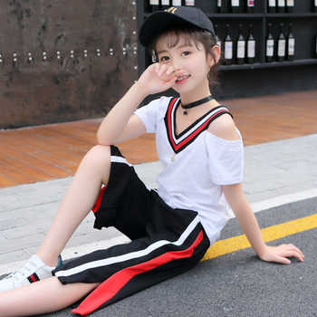 Children Clothing New Cotton Kids Girls Set Summer V-neck Blouses Sleeve+Seven Points Wide Leg Pants Sports Two-piece 4-12Y - DISCOUNT ITEM  16% OFF All Category