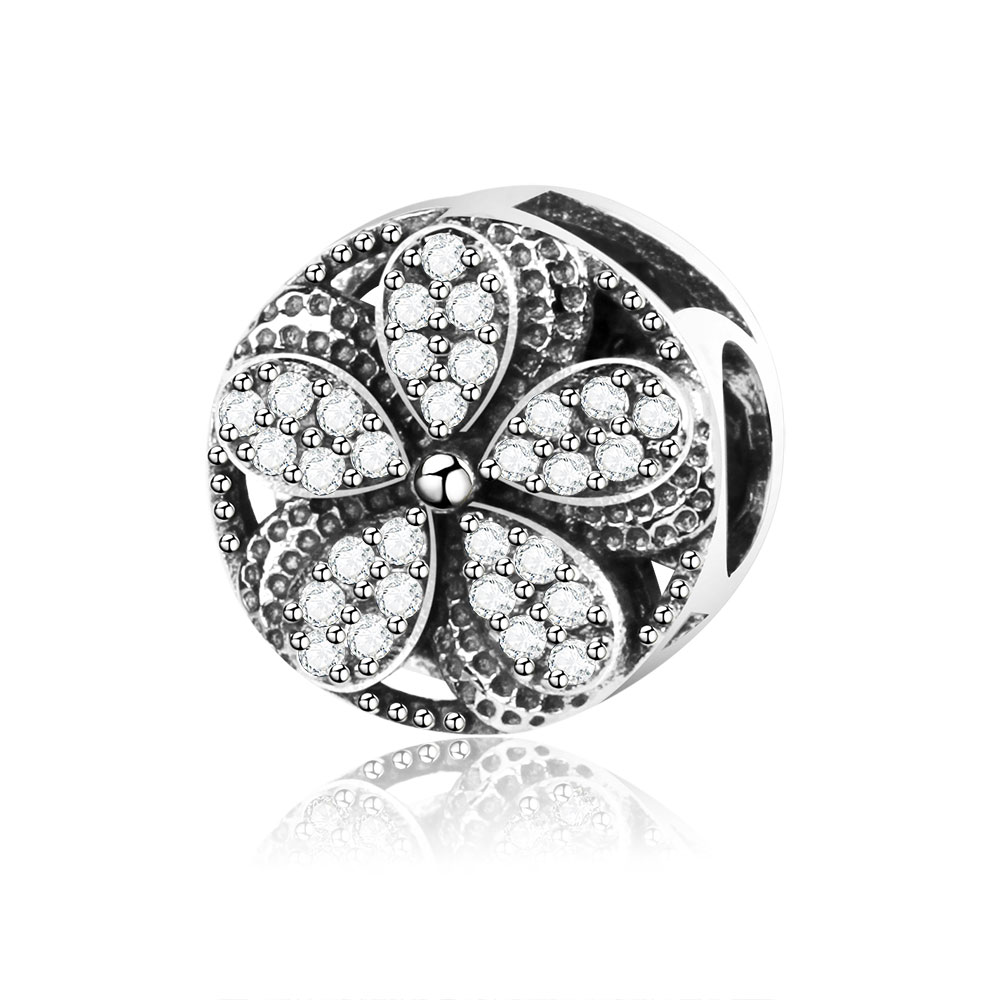 2018 Summer Collection DIY Fits Original Pandora Charm Bracelet Jewelry Making 925 Sterling Silver Flower Charms Beads With CZ