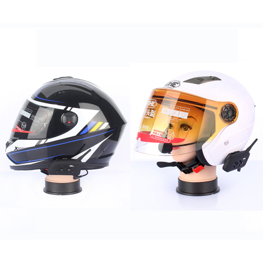2 pcs V4 BT Interphone Wireless Motorcycle Helmet Bluetooth Intercom Headset for 4 Riders 1200M FM Radio Stereo music in Helmet Headsets from Automobiles Motorcycles
