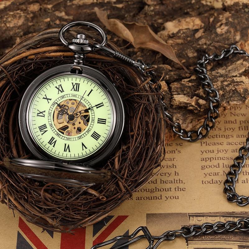 Glows In Dark Top Brand Mens Automatic Mechanical Watches Luminous Skeleton Pendant Hand Wind Pocket Watches Men Ladies Gift