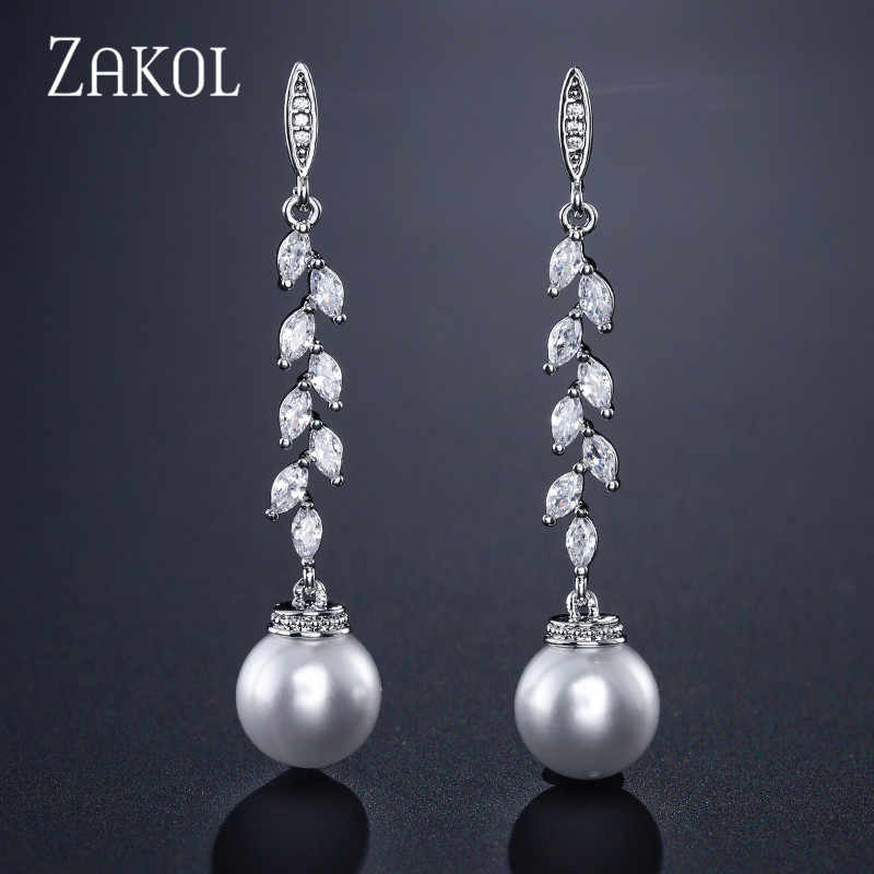 ZAKOL Fashion Zirconia Crystal Leaf Long Drop Earrings With Imitation Pearls for Women Bridal Wedding Jewelry FSEP2165