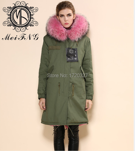 97a4fe782b5 2016 latest design fashion fur coat fur outerwear cotton shell army green fur  jacket pink lining Korea style coat M002-10