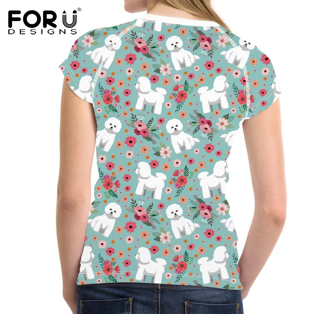 FORUDESIGNS Bichon Frise Printed T Shirt Women Flower Pattern Funny Tee Shirt for Girls Female Kawaili Short Sleeve T shirts in T Shirts from Women 39 s Clothing