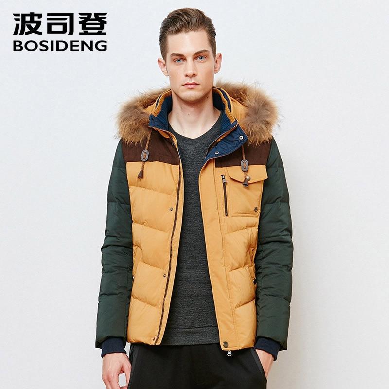BOSIDENG winter men down jacket thick down coat regualr top real raccoon fur patchwork high quality B1501131J