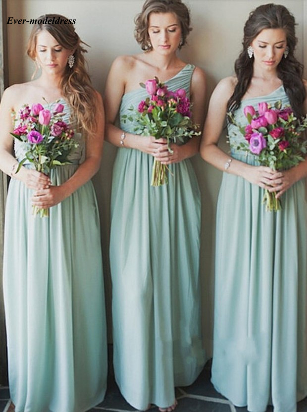 Long Light Green   Bridesmaid     Dresses   Chiffon A-Line One Shoulder Floor Length Simple Wedding Gusts Party Gowns Custom Made