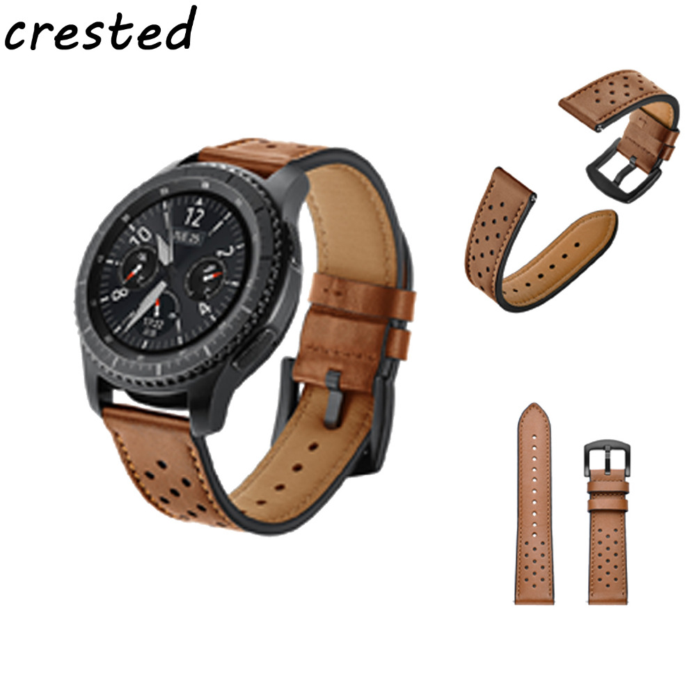 CRESTED 22mm Retro Genuine Leather Watch Band  for Samsung Gear S3 Classic/ Frontier strap Smart watch Metal Buckle watch strap wireless cradle charger for samsung gear s2 classic smart watch