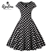 AZULINA Polka Dot Vintage Retro Women Dress Short Sleeve O Neck 2017 Summer Female Casual A