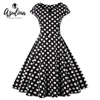 AZULINA Plus Size 4XL Vrouwen Jurk Stip Korte Mouw O Hals Katoen Jurken Retro Vintage Feestjurk Vestidos Robe Femme