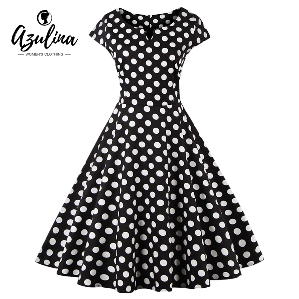 azulina plus size 4xl women dress polka dot short sleeve o. Black Bedroom Furniture Sets. Home Design Ideas