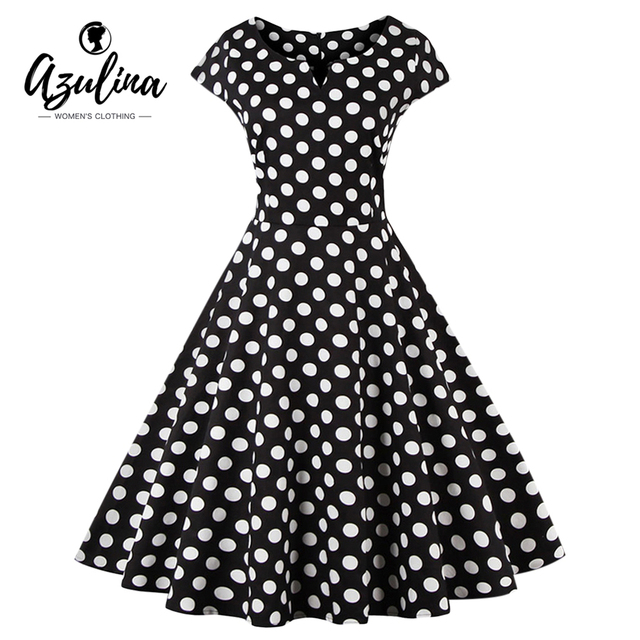 AZULINA Plus Size 4XL Women Dress Polka Dot Short Sleeve O Neck Cotton  Dresses Retro Vintage