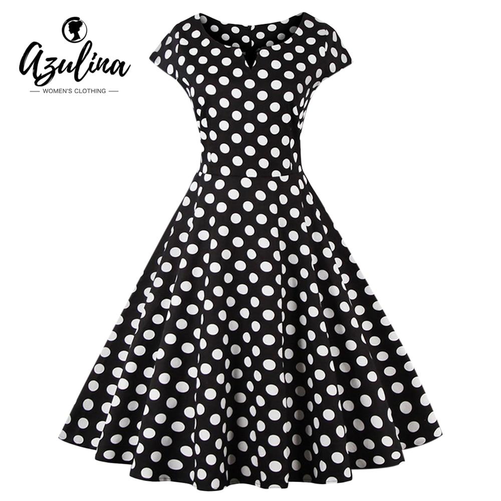 AZULINA Plus Size Dress Women Retro 50s Vintage Elegant Party Dress Polka Dot Short Sleeve O Neck Cotton Vestidos Robe Dresses