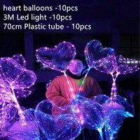 18 inch Không Có Nếp Nhăn Led Bobo Trong Suốt Rõ Ràng Bong Bóng Trái Tim Hôn Nhân Đám Cưới Decro Helium Inflatable Balls Trẻ Em Người Yêu Quà Tặng
