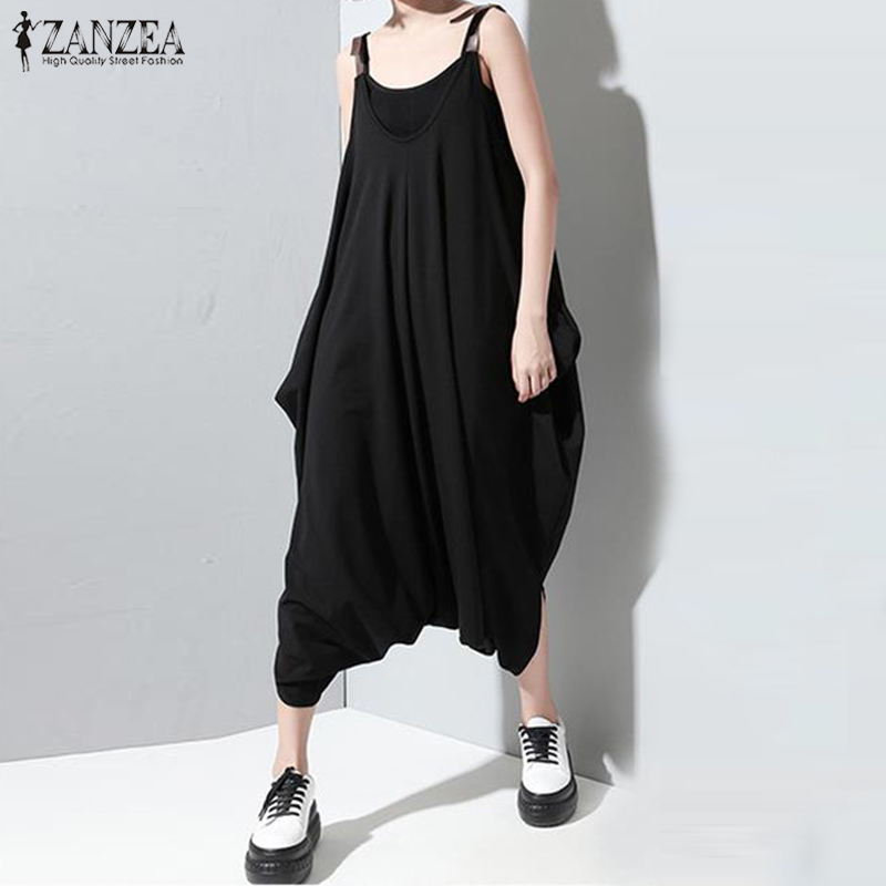 2018 Plus Size ZANZEA Strappys Sleeveless Loose Party Jumpsuits Summer Women Sexy Solid Club Rompers Overalls Wide Leg Pants