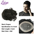 Men Toupee 6x8 Inch Remy Human Hair Full Lace Men's Wigs 6'' Swiss Lace Toupee Short Real Natural Black Hair Replacement for Men
