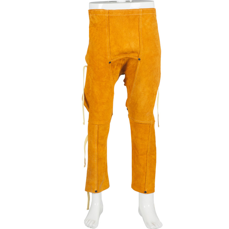 Welding Trousers Split Cow Leather Welding Pants Cow Welding Clothing Spark Resistant Cow leather welding Apron one set leather welding strap trousers