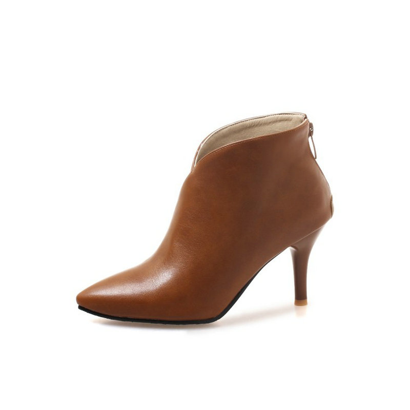 07b471f371f ZawsThia 2018 Autumn Winter V Cut Women Boots Solid European Ladies shoes  Martin booties PU Leather ankle boots Thin High Heels-in Ankle Boots from  Shoes on ...