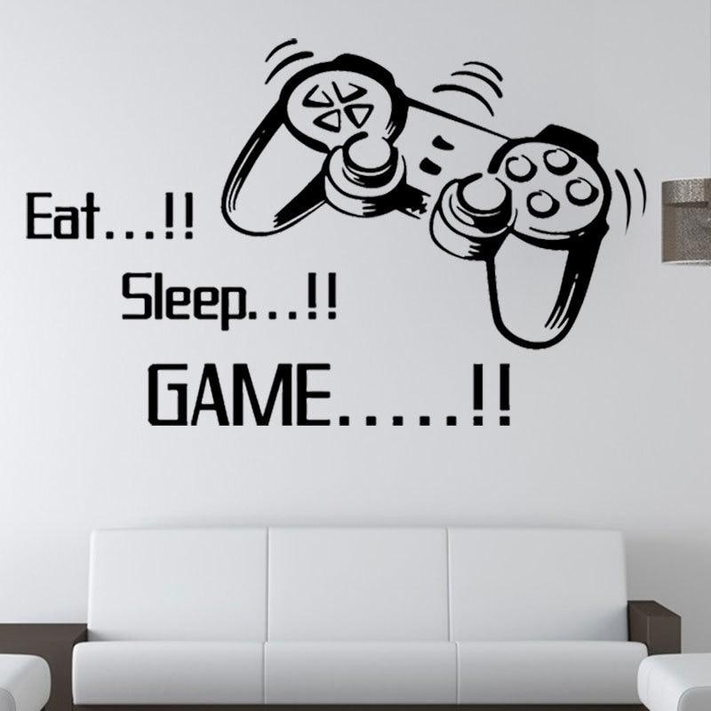 Gamer Wall Art Stickers Boys Bedroom Letter DIY Kids Rooms