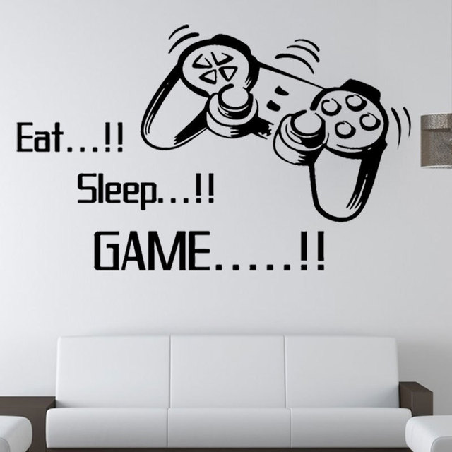 Gamer Wall Art Stickers Boys Bedroom Letter DIY Kids Rooms Decoration Wall  Decals Home Decor Wall