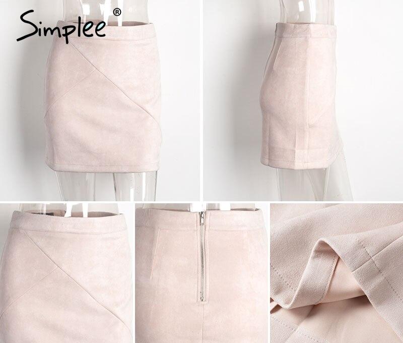 Simplee Autumn vintage leather suede pencil skirt winter 18 Cross high waist skirt Zipper split bodycon short skirts women 14