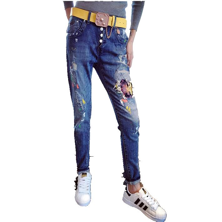 2016 Autumn Winter Han edition Patches Bud Silkblue Lace Harem Pants Female Feet Loose Big yards