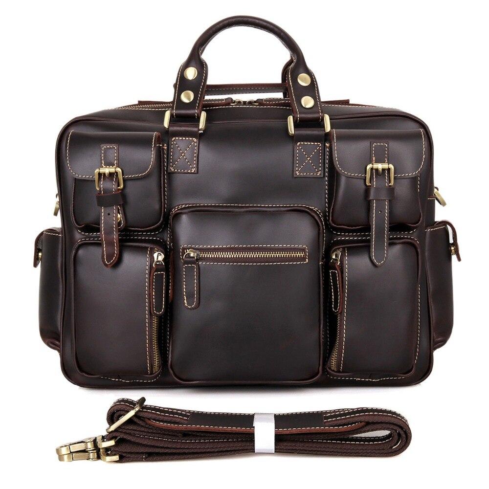 Top Fasion Genuine Leather Chocolate J M D font b Men b font Handbags Type Travel