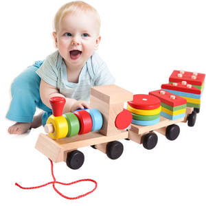Baby Wooden Toys Blocks Trailer-Stacking-Shape Educational Children Congnitive Colorful