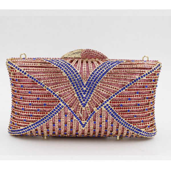 Wanita ungu Malam tas hari Cengkeraman perempuan Berlian Berlian Imitasi biru Kristal Hari Clutch Dompet Party Pesta Pernikahan purse pink