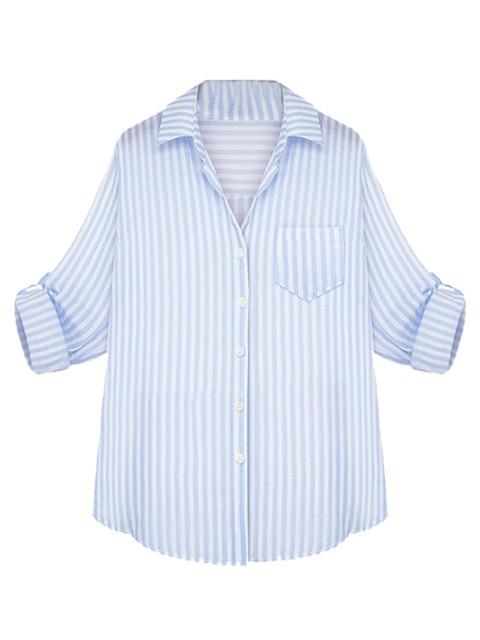 6615dbbbf28 US $12.99 |Light Blue Stripe Long Sleeve Turn down Collar SIngle Breast  Pocket Casual Women Blouse Shirt 2015 Spring New Women Fashion on ...