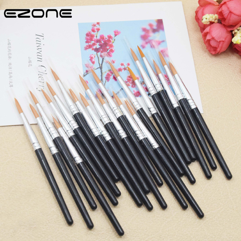 EZONE 6 Pcs Black Plastic Nylon Hair Paint Brushes Watercolor Paint Brush For Children Art Painting Stationery Supplies