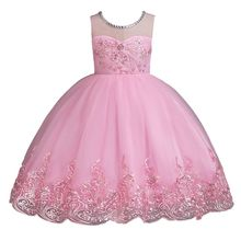 Girl Embroidered Formal Princess Dress for Birthday Party Girls Baby Christmas New Year Clothes 2-14 Years