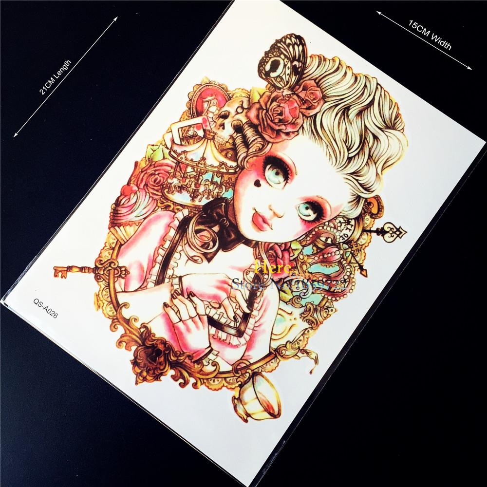 1PC Magic Girl Golden Hair Flash Waterproof Tattoo Sticker, Sexy Women Makeup Tattoo Self Ahdesive Summer Style Body Art Arm Men