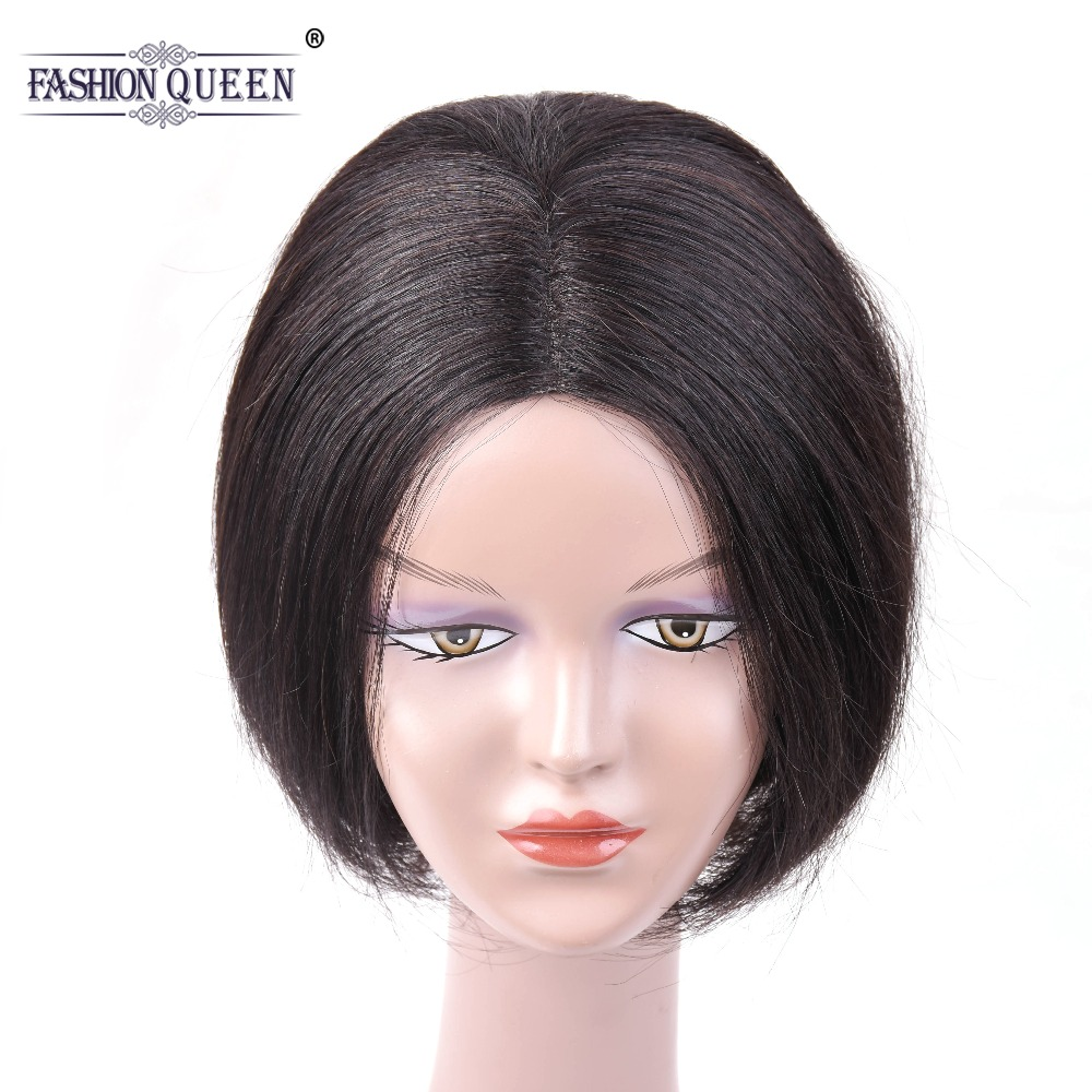 Brazilian Short Lace Wigs with Bang Natural Wave Non Remy Human Hair Straight Human Hair Wigs For Women Natural Color 6 inch