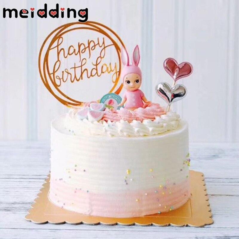 MEIDDING 1pcs Happy Birthday Cake Topper Acrylic Cake Flags 1st