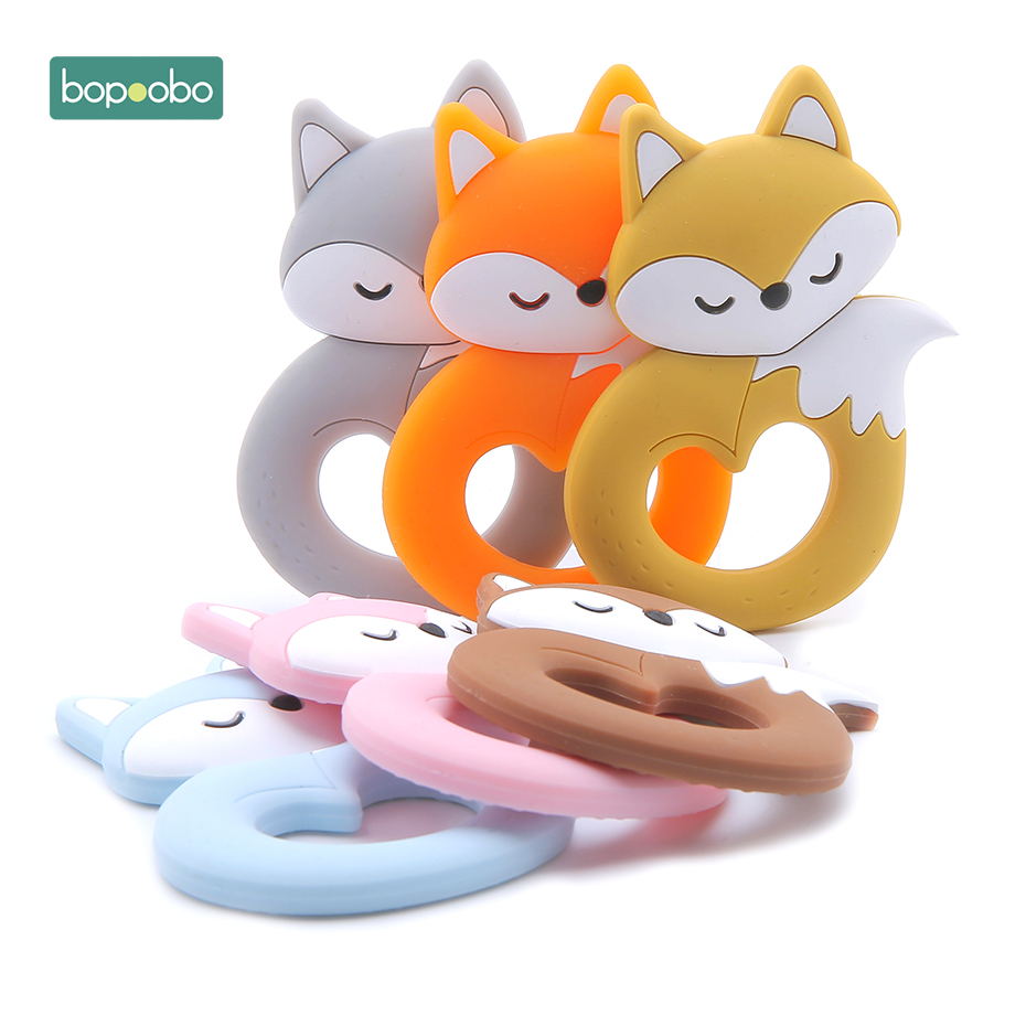 Bopoobo 0-12months 10pc Fox Baby Teether Food Grade Silicone Teething For Baby Tiny Rod For Children Silicone Cartoon Teether