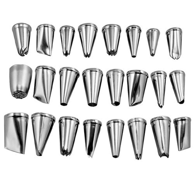 24Pcs/set Large Stainless Steel Icing Piping Nozzles