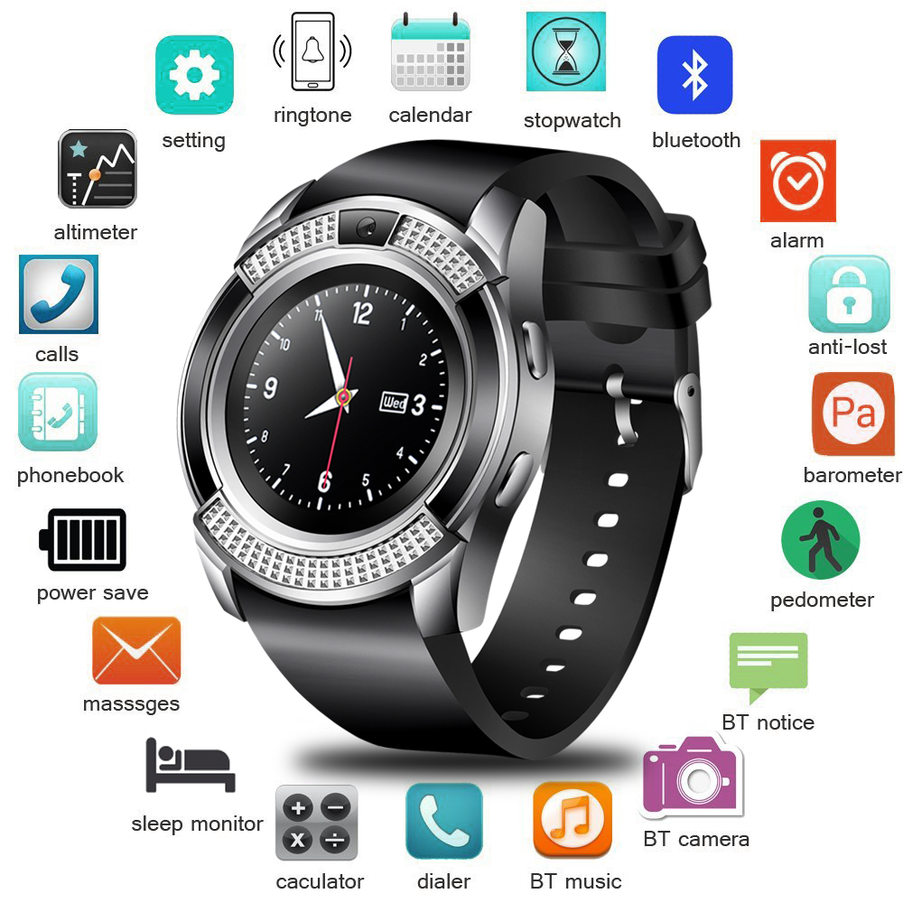 LIGE New Smart Digital Watch Information Vibration Reminder Sport Pedometer Clock LED Color Screen Bluetooth Smart Watch Men+Box