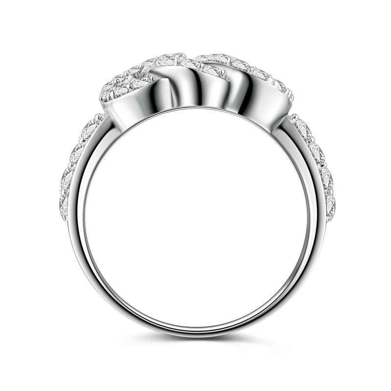 AINUOSHI Clássico 925 Prata Esterlina Anel de Noivado Da Princesa Aniversário de Casamento Das Mulheres Rodada Círculo Bonito do Partido Jóias de Prata