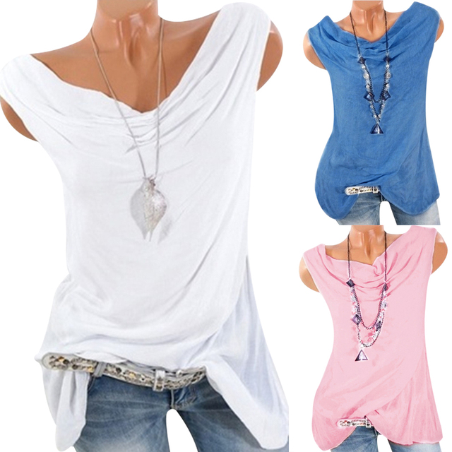 Plus Size Sleeveless Blouse Women Tunic Tops Vintage Bow Neck 2018 Summer Tee Shirts Casual Loose Cotton Blusas Camisa Feminina 3